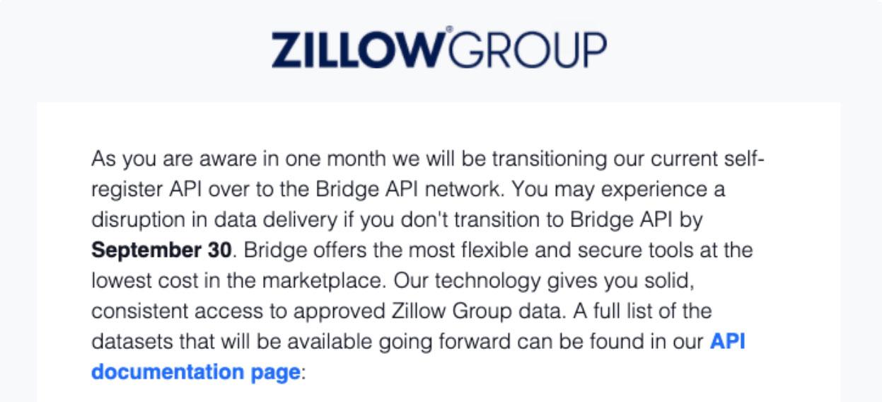 zillow api message