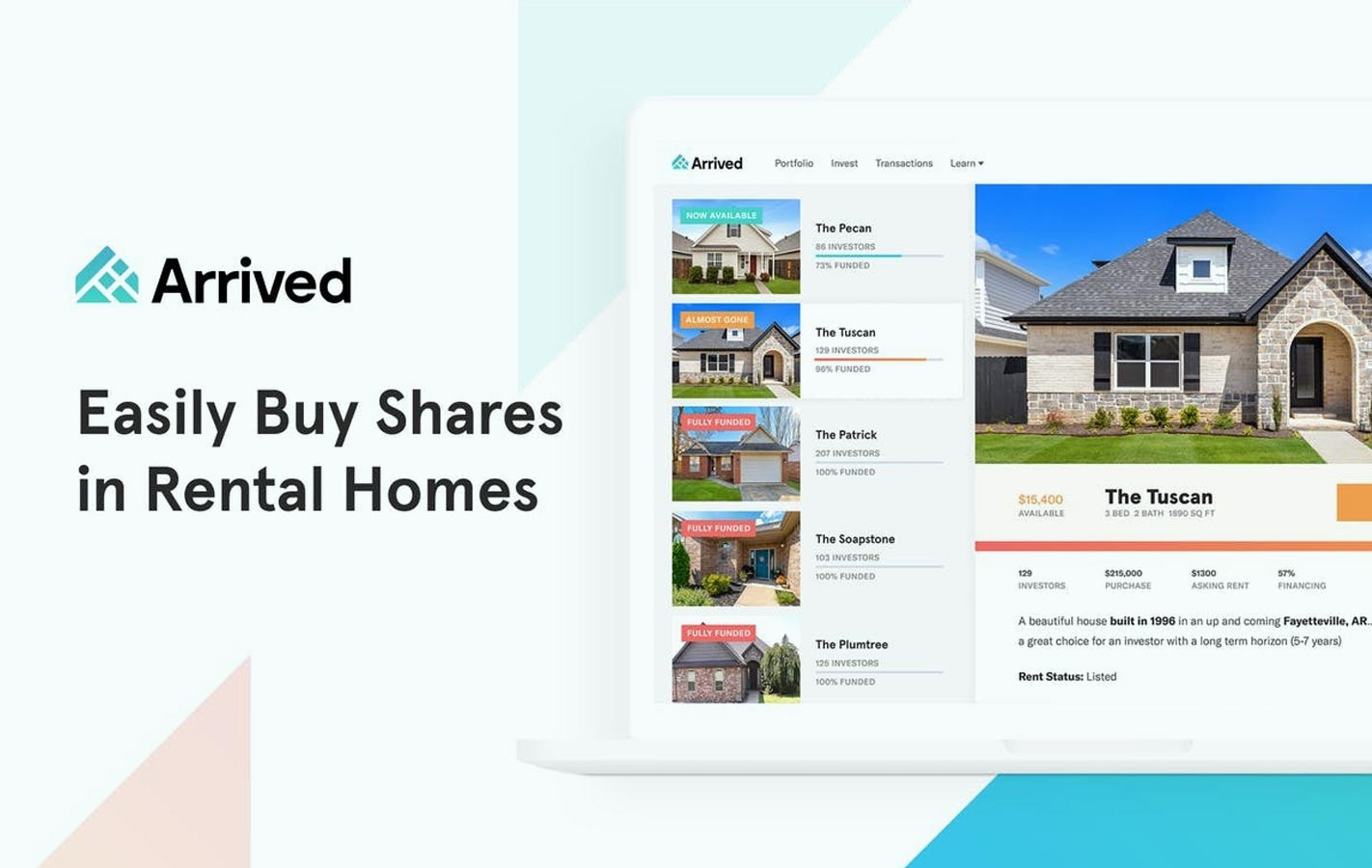 Arrived homes easily buy shares in rental homes